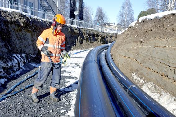 Extena tryckrör polyeten PE100 RC läggning referensobjekt Skellefteå
